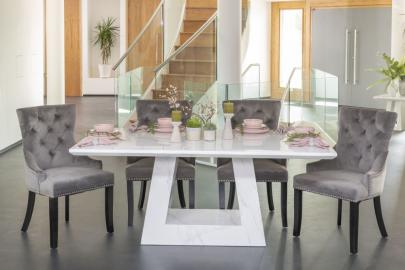 Buy Urban Deco Milan White Marble 180cm Dining Table with 4 Grey Knockerback Chairs and Get 2 Extra Chairs Worth £298 For FREE