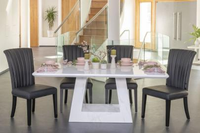 Buy Urban Deco Milan White Marble 200cm Dining Table with 4 Cadiz Black Chairs and Get 2 Extra Chairs Worth £298 For FREE