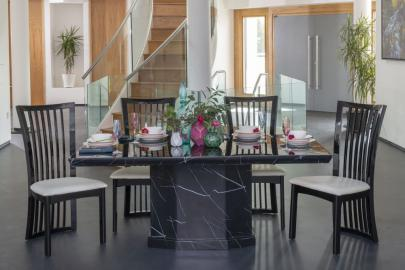 Buy Urban Deco Naples Black Marble 160cm Dining Table with 4 Athena Chairs and Get 2 Extra Chairs Worth £396 For FREE