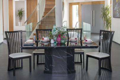 Buy Urban Deco Naples Black Marble 180cm Dining Table with 4 Athena Chairs and Get 2 Extra Chairs Worth £396 For FREE