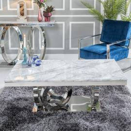 Urban Deco Orbit Coffee Table - Grey Marble and Stainless Steel Chrome