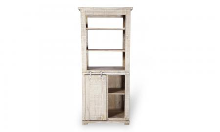Urban Deco Shabby Chic White Washed Distressed 1 Door 3 Shelves Bookcase