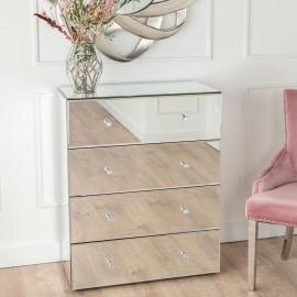 Vance Mirrored 4 Drawer Wide Chest
