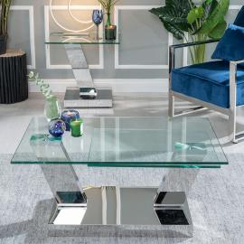 Westin Glass and Stainless Steel Chrome Rotating Coffee Table