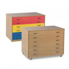 6 Drawer Plan Chest Beech Mobile