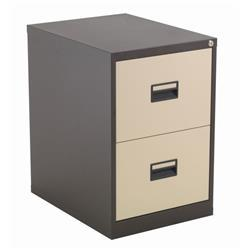 Legato Steel 2 Drawer Filing Cabinet - Coffee/Cream Ref TCS2FC-CC