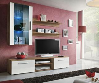 Carlisle 2 - white and walnut modern tv wall unit