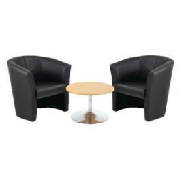 First Tub Chairs Black Vinyl and Low Trumpet Base Coffee Table 800mm