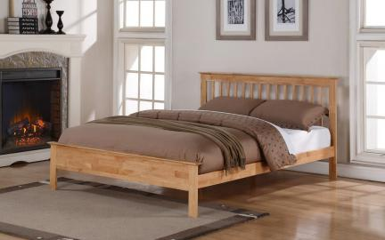 Flintshire Pentre Hardwood Oak Finish Bed Frame, Single