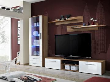 Montrose 1 - white high gloss fronts and walnut wall unit