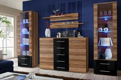 Monaco 2 - Plum and black wall unit