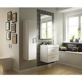 Wickes Talana White Gloss Wall Hung Compact Vanity Unit with Door  - 400mm