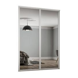 Spacepro 914mm White Shaker frame Single panel Mirror Sliding Wardrobe Door Kit