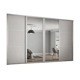 Spacepro 914mm White Shaker frame 3 panel & 2x Single panel Mirror Sliding Wardrobe Door Kit