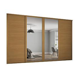 Spacepro 610mm Oak Shaker frame 3 panel & 2x Single panel Mirror Sliding Wardrobe Door Kit