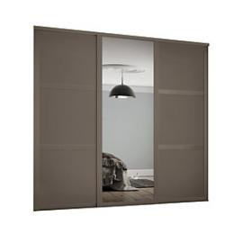 Spacepro 762mm Stone Grey Shaker frame 3 panel & 1x Single panel Mirror Sliding Wardrobe Door Kit