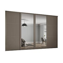 Spacepro 914mm Stone Grey Shaker frame 3 panel & 2x Single panel Mirror Sliding Wardrobe Door Kit