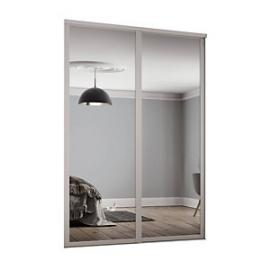 Spacepro 610mm Cashmere Shaker frame Single panel Mirror Sliding Wardrobe Door Kit