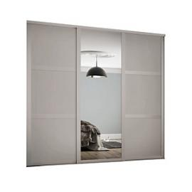 Spacepro 610mm Cashmere Shaker frame 3 panel & 1x Single panel Mirror Sliding Wardrobe Door Kit