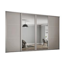Spacepro 914mm Cashmere Shaker frame 3 panel & 2x Single panel Mirror Sliding Wardrobe Door Kit