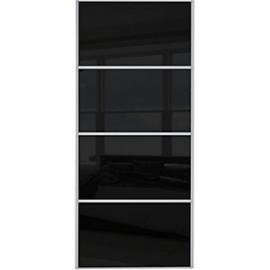 Spacepro Sliding Wardrobe Door Silver Framed Four Panel Black Glass - 2220 x 610mm