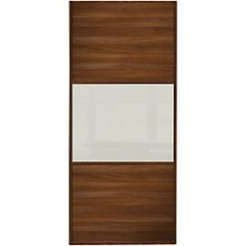 Spacepro Sliding Wardrobe Wideline Door Walnut Panel & Arctic White Glass - 2220 x 762mm