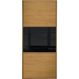 Spacepro Sliding Wardrobe Door Wideline Oak Panel & Black Glass - 2220 x 610mm