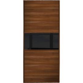 Spacepro Sliding Wardrobe Door Fineline Walnut Panel & Black Glass - 2220 x 610mm