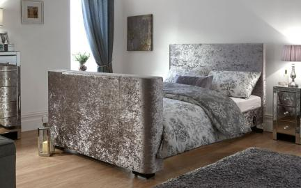 GFW Newark Crushed Velvet TV Bed, King Size
