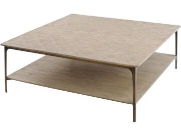Newick Parquet Textured Wood Square Coffee Table