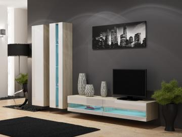 Seattle D6 - oak and white affordable entertainment center