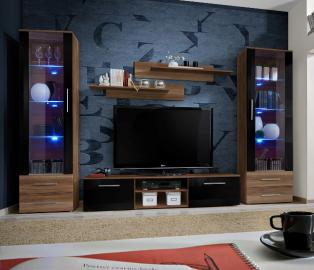 Telia 2 - Walnut and black modern tv wall unit