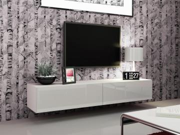 Seattle 21 - Modern TV wall unit with high gloss white MDF fronts