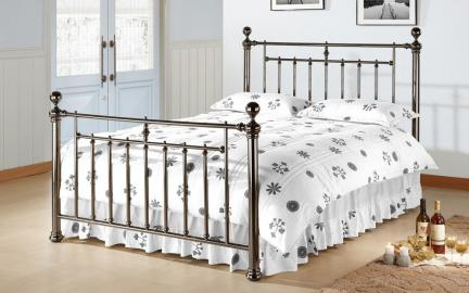Time Living Alexander Metal Bed Frame, Double, Metal Finials, Chrome