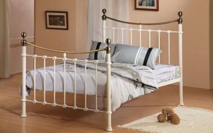 Time Living Elizabeth Metal Bed Frame, Double, Ivory