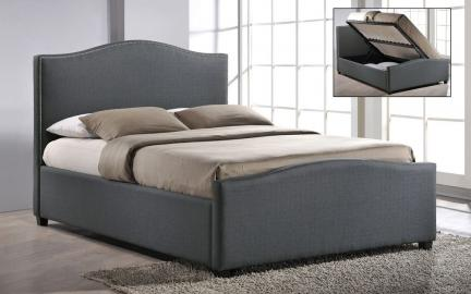 Time Living Brunswick Ottoman Fabric Bed, Double, Grey