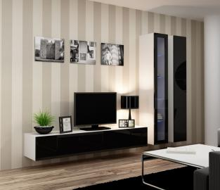 Seattle 10 - black and white living room wall unit
