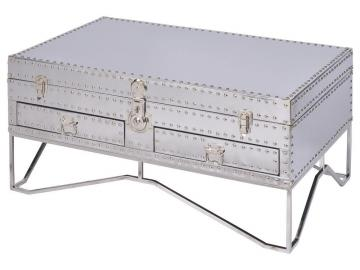 Viscount Polished Steel Two Drawer Trunk Coffee Table