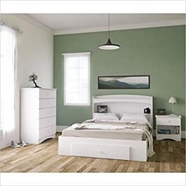 Nexera Vichy 4 Piece Full Bedroom Set in White and Melamine