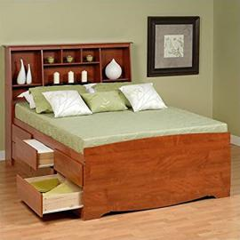 Prepac Monterey Queen Tall Bookcase High-Platform Storage Bed in Cherry