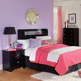 Standard Furniture Marilyn Black 3 Piece Headboard Bedroom Set in Glossy Black