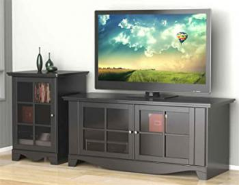 Eco-Friendly TV Stand with Audio Tower in Black