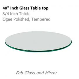 "48"" Round Class Table Top, 3/4"" Thick, Ogee Tempered"