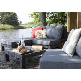 Allibert - SET DA GIARDINO MOD NEVADA KETER GRIGIO IN RESINA CHAISE LONGUE