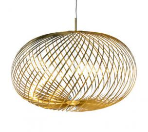Spring Large LED Pendelleuchte / Ø 95 x H 70 cm - Flexible Stahlbänder - Tom Dixon - Messing