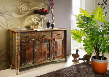 Sideboard Altholz 140x42x88 mehrfarbig lackiert FABLE #04