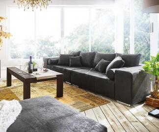 DELIFE Big-Sofa Marbeya 285x115 cm Anthrazit Antik Optik 10 Kissen, Big Sofas