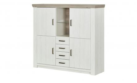 Highboard  Zenno ¦ weiß ¦ Maße (cm): B: 160 H: 146 T: 45 Kommoden & Sideboards > Highboards - Höffner
