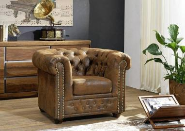 Sessel Chesterfield 94x86x72 braun OXFORD