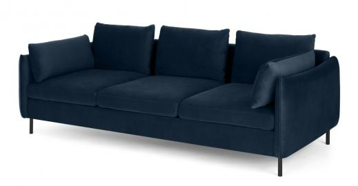 Vento 3-Sitzer Sofa, Samt in Saphirblau - MADE.com